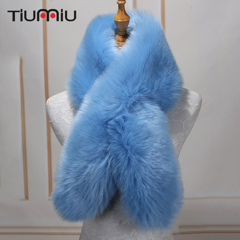 Neck Long Faux Fur Collar Scarfs Women Winter Fur Thick Fashion Warm Fake Fox Fur Shawl Female   Scarves   Imitation Fur   Wraps   115cm