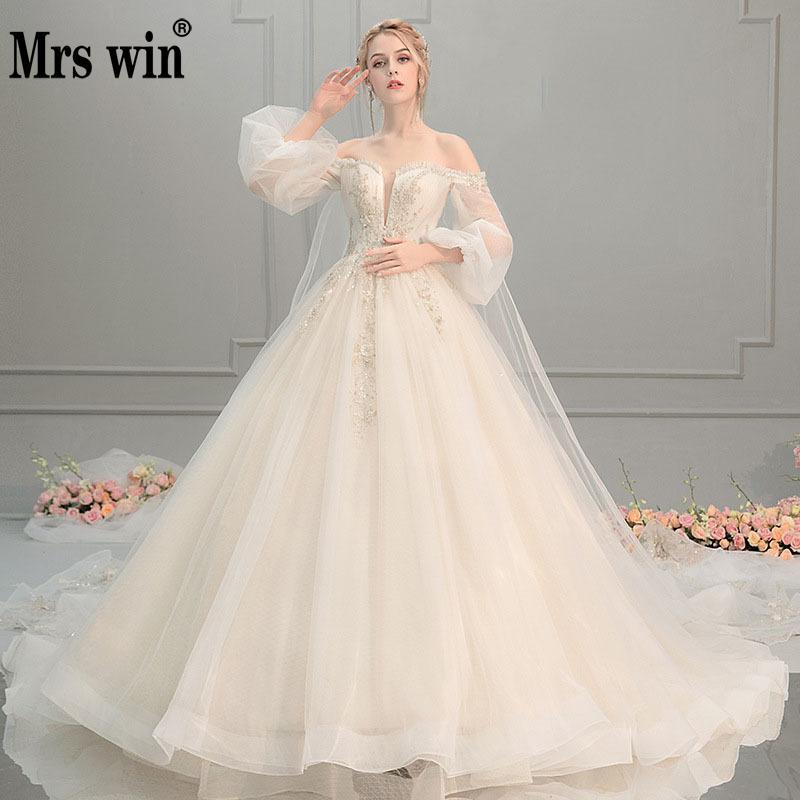2020 Wedding Dress Mrs Win The Sweet Puff Sleeve Princess Lace Vestido De Noiva Luxury Robe De Mariee Off The Shoulder Dresses F