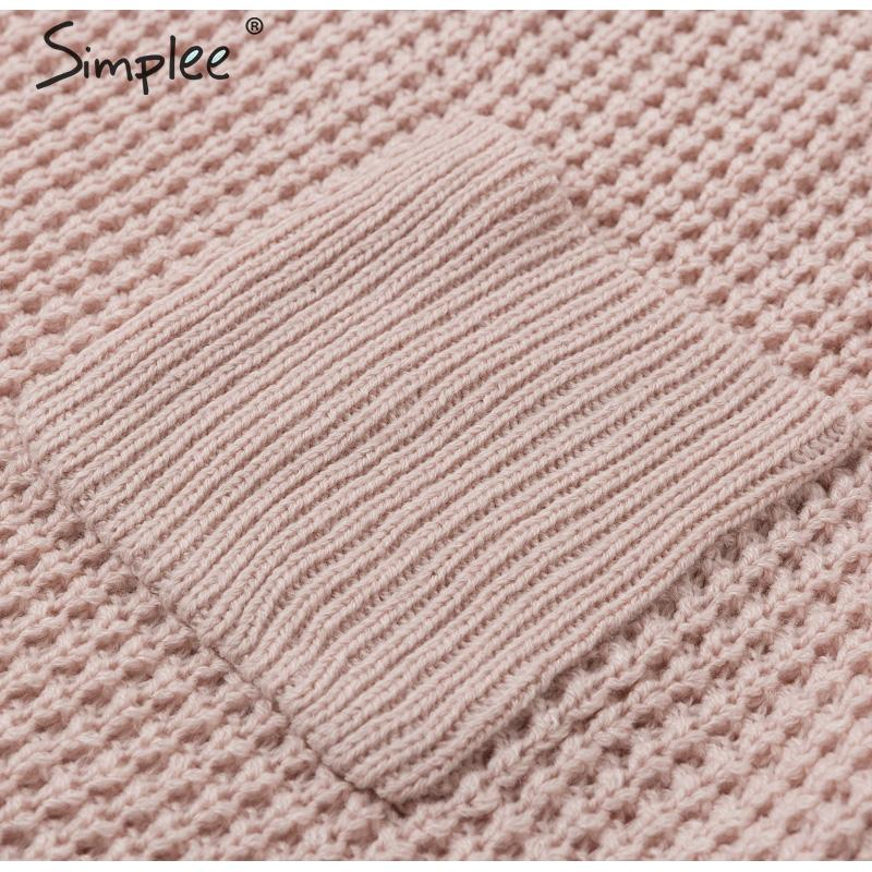 Simplee Casual pocket knitted women sweater V neck loose female autumn pullover jumper Winter solid ladies soft sweater 2019