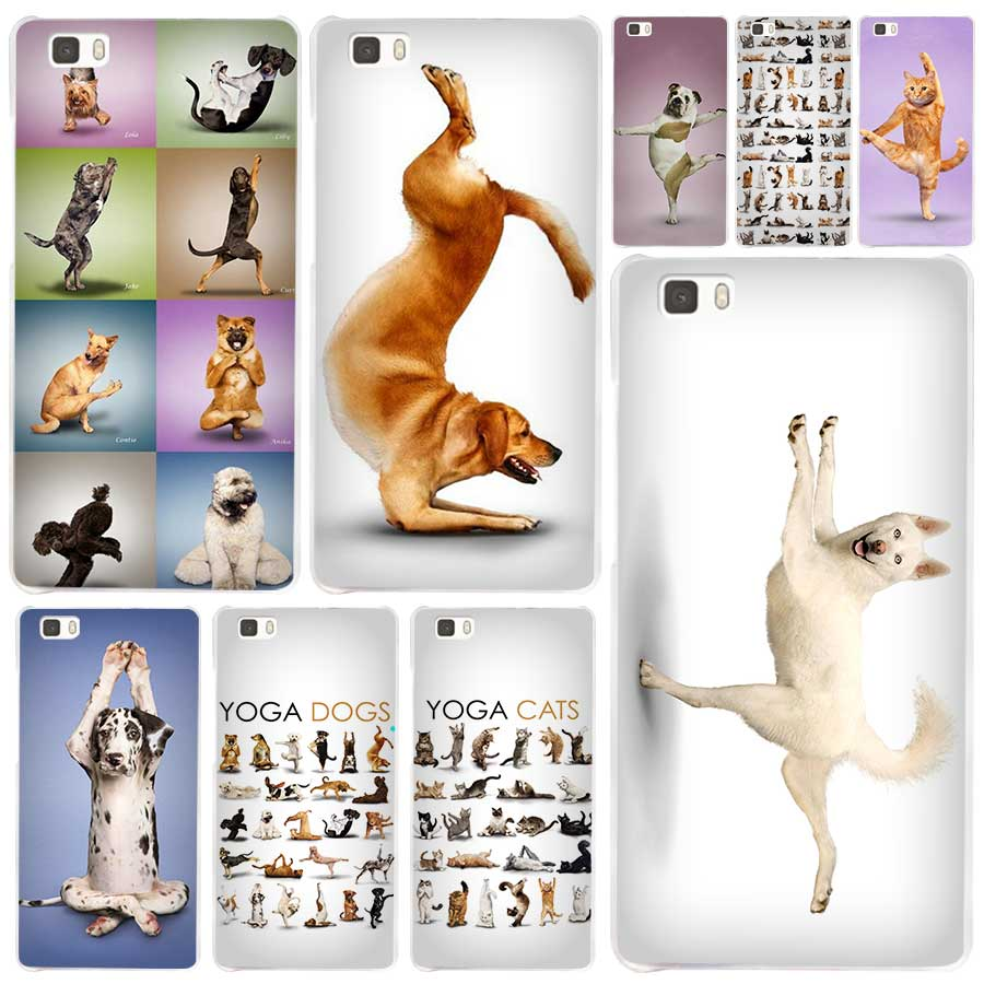 Hot Sale Yoga Cats Dogs Clear Case Cover Coque Shell For Huawei P10 P9 P8  Lite