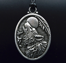 1pc Handmade Antique Silver Large Howling Wolf Pendant Necklace