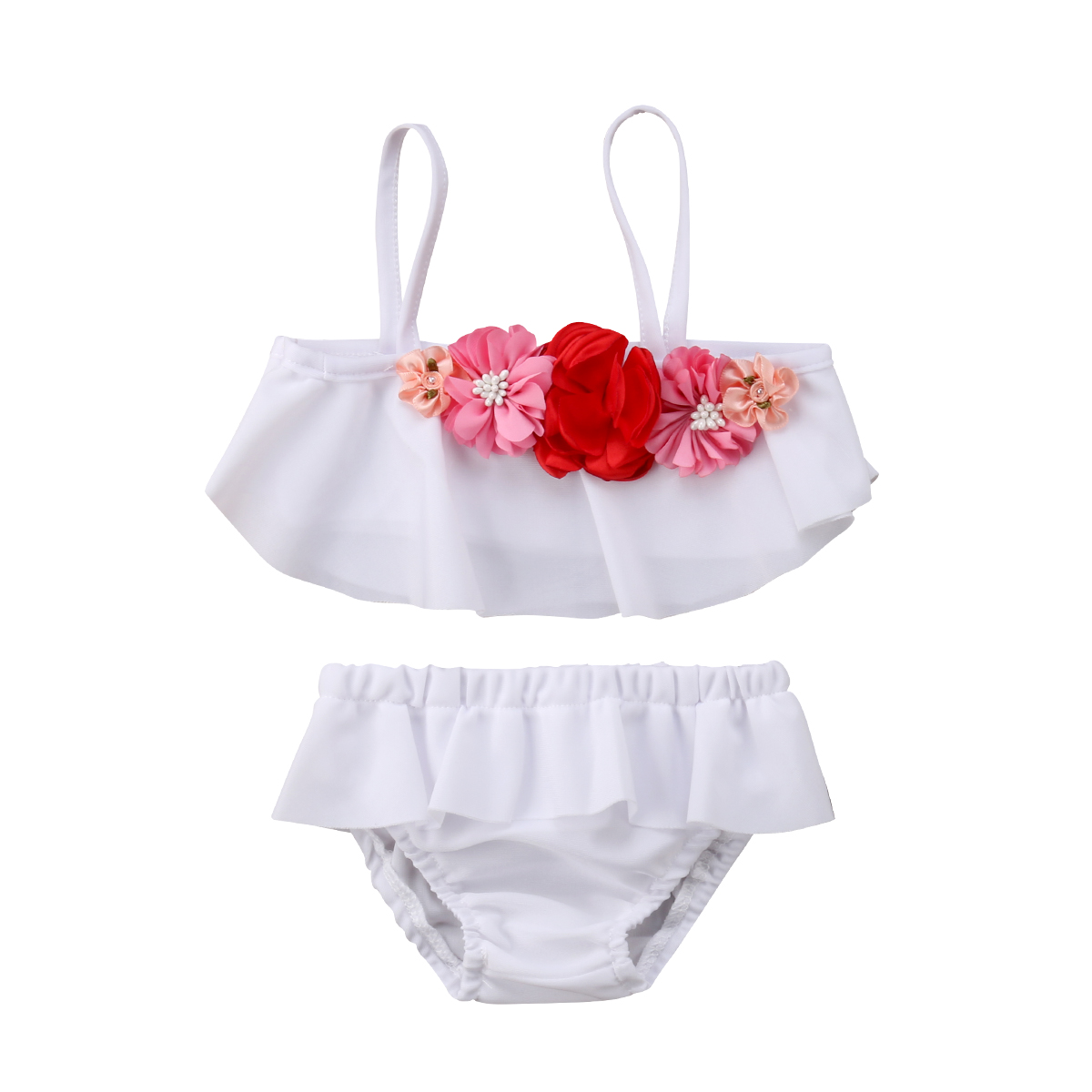 2Pcs Summer Kid Baby Girl Floral White Swimming Bikini Clothing Set Swimsuit Swimwear Bathing Suit