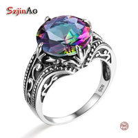 Szjinao Mystic Rainbow Austrian Crystal Engagement Antique Vintage Ring Retro 925 Sterling Silver Women Promise Bridal