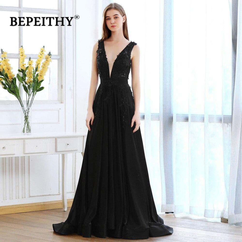BEPEITHY Sexy Open Back Black Long Evening Dress Party Elegant Lace Bodice Floor Length Deep V Neck Prom Dresses 2020