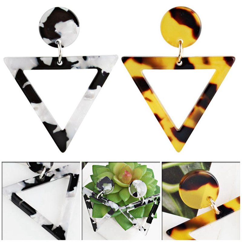 Trendy Geometric  Triangle Acrylic Stud Earrings Women Geometric Statement Boho Leopard Jewelry Brinco Accessories Bijoux Gifts