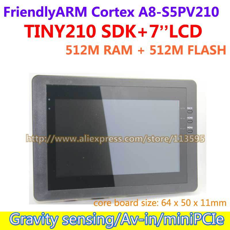 Free shipping FriendlyARM S5PV210 Cortex A8 Development Board TINY210 SDK 7inch Capacitive Touch Screen 512M RAM