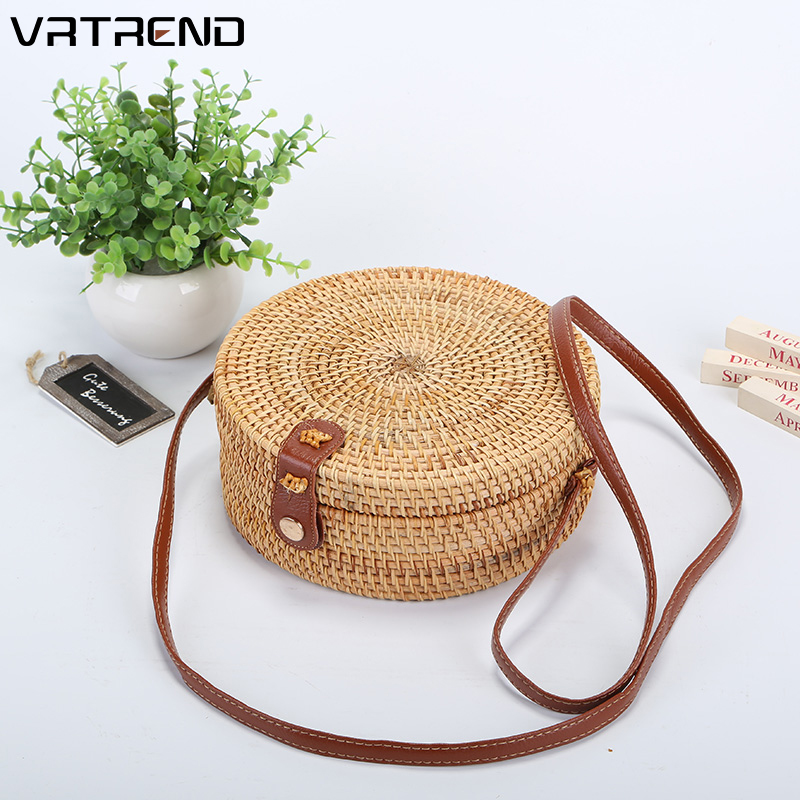 VRTREND Rattan-Bag Tote Bali Beach-Shoulder-Bag Woven Handmade Round Bohemian Cross-Body title=