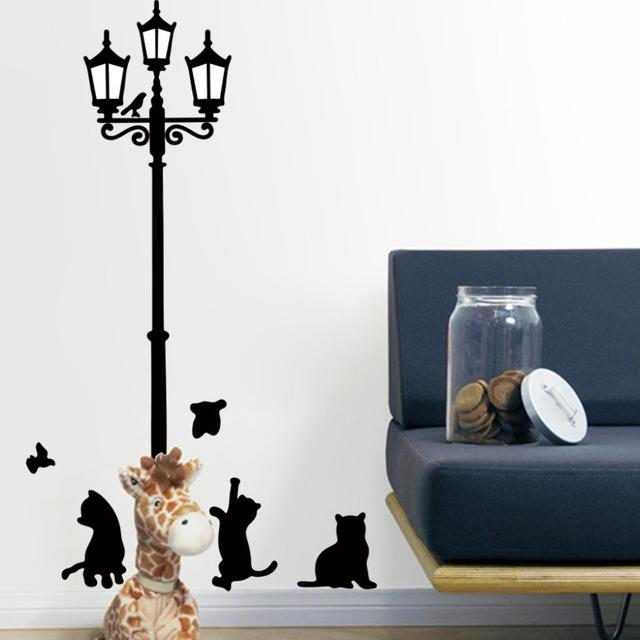 Lovely Cats Playing With Butterfly Around Lamppost Wall Decal ZooYoo030S  Decorative Adesivo De Parede Removable Pvc