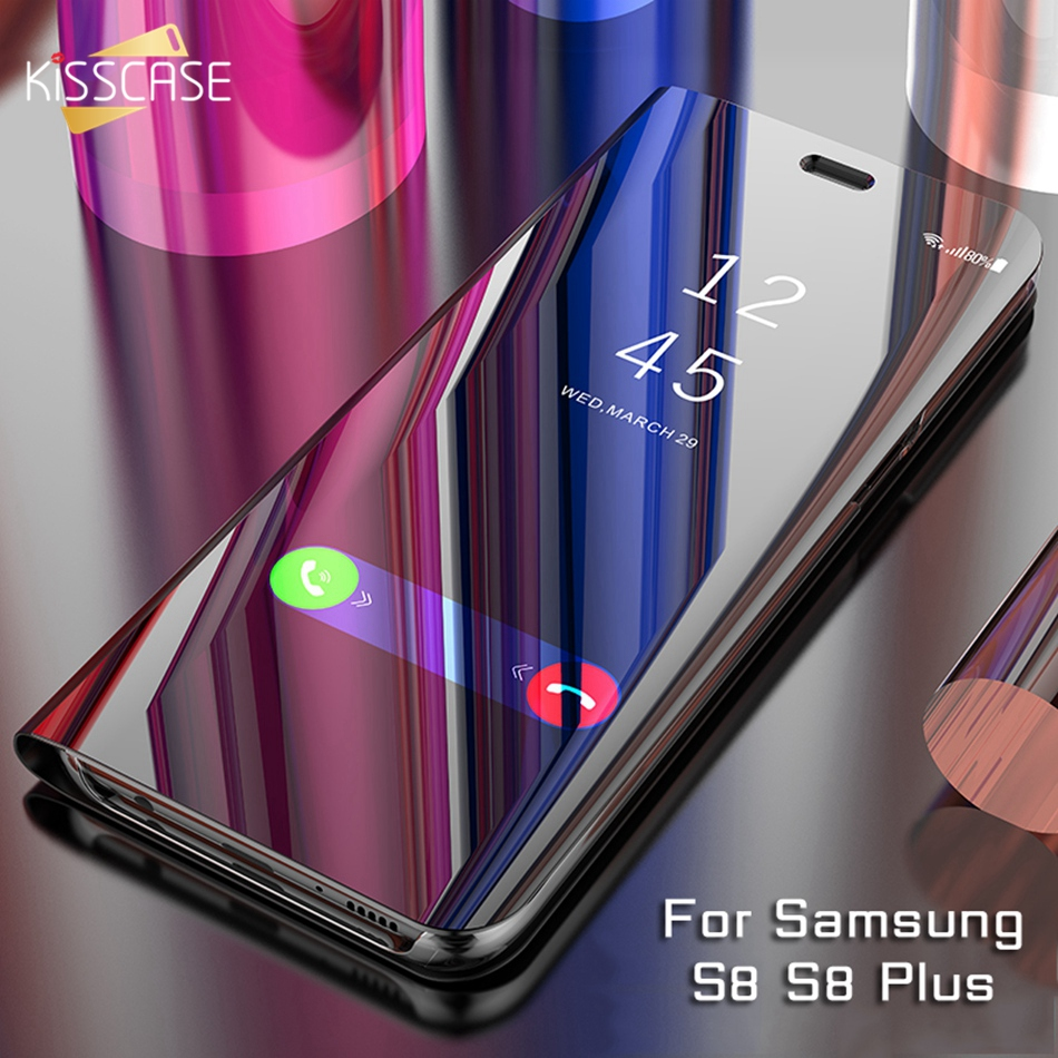 KISSCASE Mirror Flip Case For Samsung Galaxy S8 S9 Plus S7 S6 Edge Plus Cover Plating Case For Galaxy A3 A5 A7 2017 Note 8 Coque