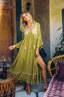 2019 Women's Boho Long Dress Cotton Floral Embroidery Maxi Dress V-neck Slim Holiday Vestidos Free Style Summer Chic Dress Robes