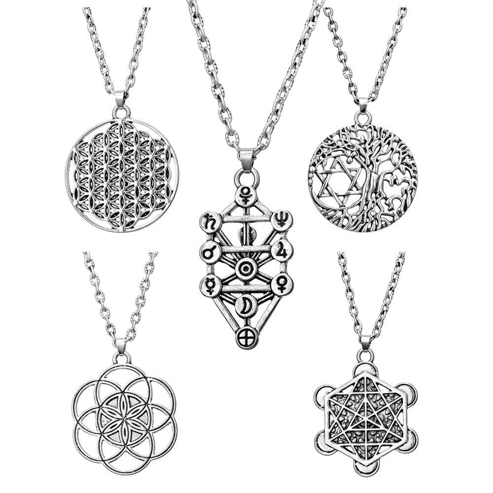 Levensboom Yggdrasil Bloemen Pentagram Pentagram Hanger Wiccan Pagan Sieraden Tibetaans Zilver Manstar Davidster Ketting