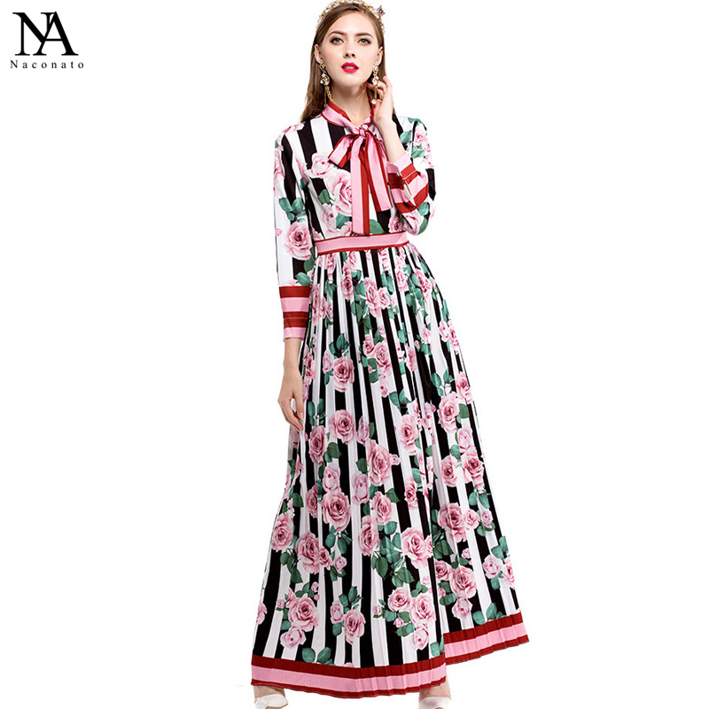 New Arrival 2018 Spring Womens Bow Detailing Long Sleeves Floral Printed Pleated Elegant Maxi Floor Length Runway Dresses