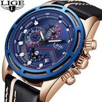 LIGE Для мужчин часы лучший бренд класса люкс Для мужчин армии спортивные часы Для мужчин автоматического Дата Водонепроницаемый кварцевые ч