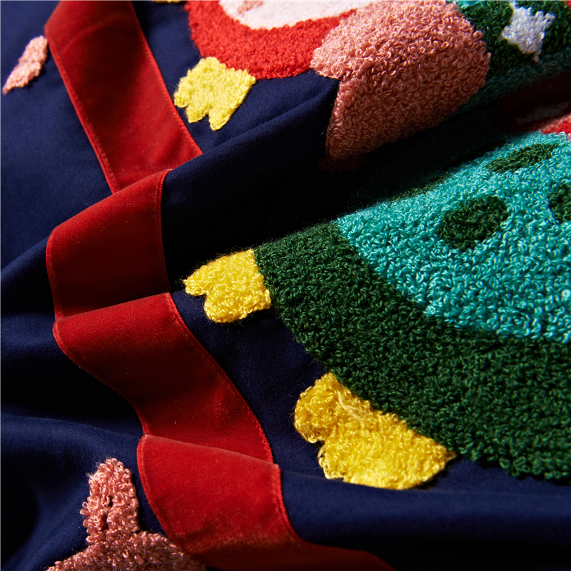 4/5 piezas de algodón de Egipto lijado de dibujos animados búho ropa de cama conjunto de toallas de bordado cálido edredón juego de sábanas fundas de almohada reina rey tamaño - 2