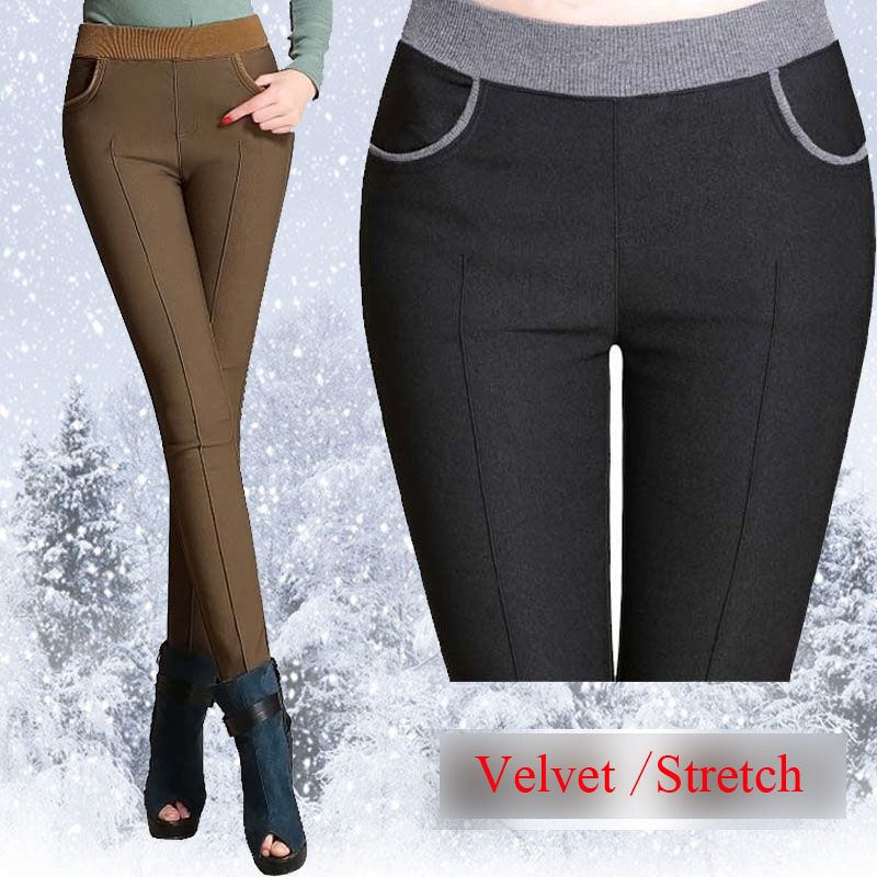 winter women warm pants Plus size 4XL thick fleece ladies pencil pants Black Khaiki elastic waist Velvet Trousers 2018 Leggings