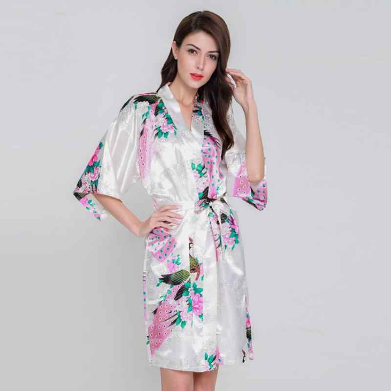 e6535f304f ... Hot Pink Ladies Summer Faux Silk Robe Dress New Style Sleepshirt Sexy  Mini Nightgown Kimono Bath ...