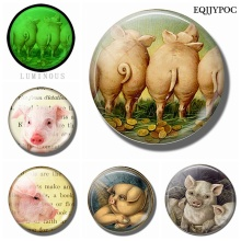 Funny Pig Glass Gemstone Fridge Magnets Hog Refrigerator Decoration Whiteboard Message Sticker Luminous Kitchen Accessories