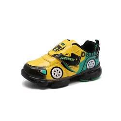 Мальчиков светящиеся туфли дети мультфильм автомобиль светодиодный детская спортивная обувь с подсветкой для маленьких девочек обувь для