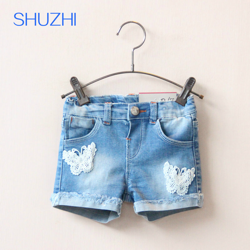 SHUZHI New Arrival Fashion Baby Girls Denim Shorts Summer kids Jeans Shorts Kids Lace Butterfly Short Pants for 2-8 years child cm50tu 24h new