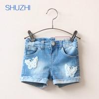 Shuzhi nuovo modo di arrivo delle neonate denim shorts estate dei capretti jeans shorts bambini della farfalla del merletto pantaloni corti per 2-8 anni bambino