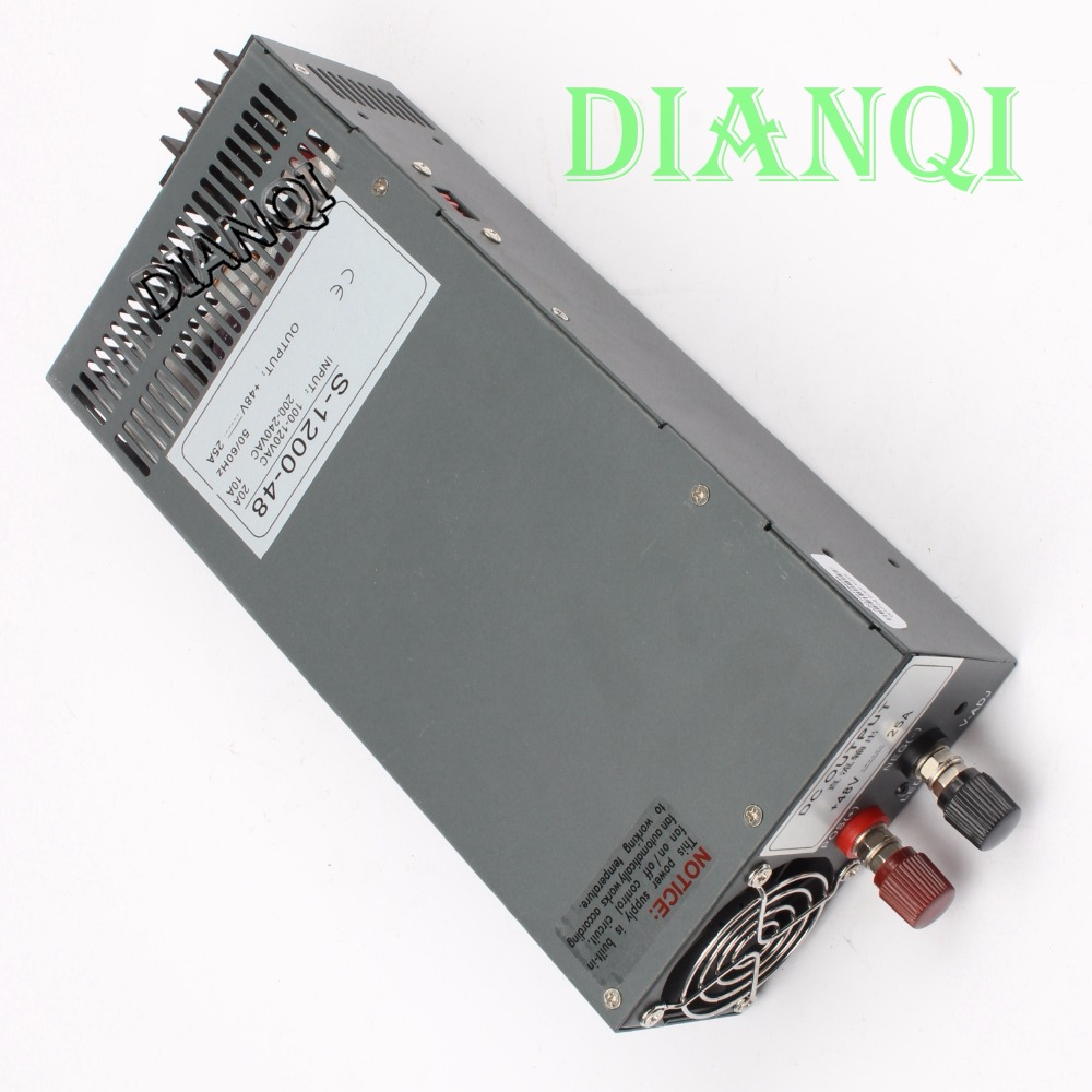 1200W 48V 25A Switching power supply input 110v or 220v for LED Strip light AC to DC power suply 1200w power supply S-1200-48 110v ac input 200w switching power supply dc48v dc power supply 48v 4a model s 200 48