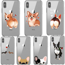 Super Cute Corgi Cat Dog French bulldog dachshunds Phone Case For iPhone X 8 7 Plus 6 6s 5S Cartoon Dog Ass For iPhone XS MAX XR(China)
