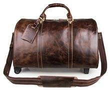 J.M.D Vintage Genuine Leather Mens Travel Bags Large Capacity Classic Duffel Laptop Bag 7077LQ