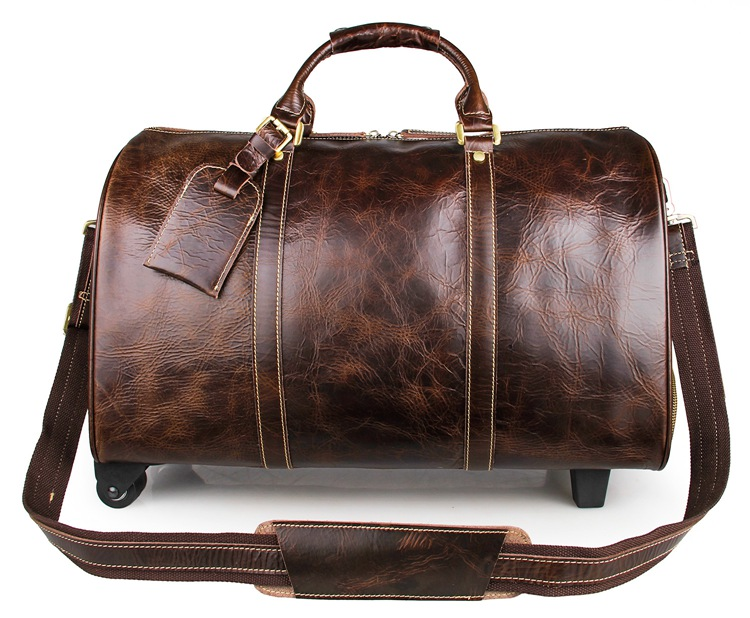 J.M.DJ.M.D Vintage Genuine Leather Men's Travel Bags Large Capacity Classic Travel Duffel Leather Laptop Bag 7077LQ 247 classic leather