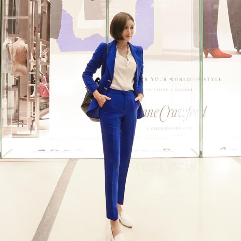 Costumes Travail Blue D'affaires Manches Femmes Blazer Et Long breasted Mode Longues Veste Automne Noble Bleu De 2018 Single Bureau Pantalon x0vFn8q4w