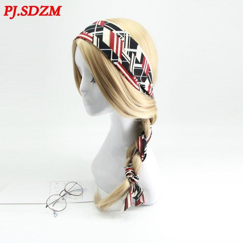 Neue Ankunft Frauen Retro Stil Pferdeschwanz Geflochten Haar Schal Mode Band Hearibbon Headwear Süße Perle Stirnbänder