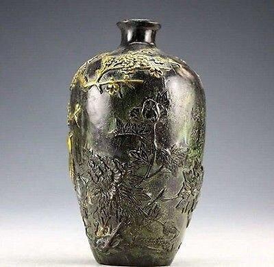 Ev ve Bahçe'ten Vazolar'de Çin Vintage Koleksiyonu bronz heykeller Altın kaplama Çiçek Kuş Vazo 20 cm'da  Grup 3
