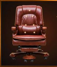 Solid wood study chair reclining boss chair home office chair leather leisure computer chair swivel chair.