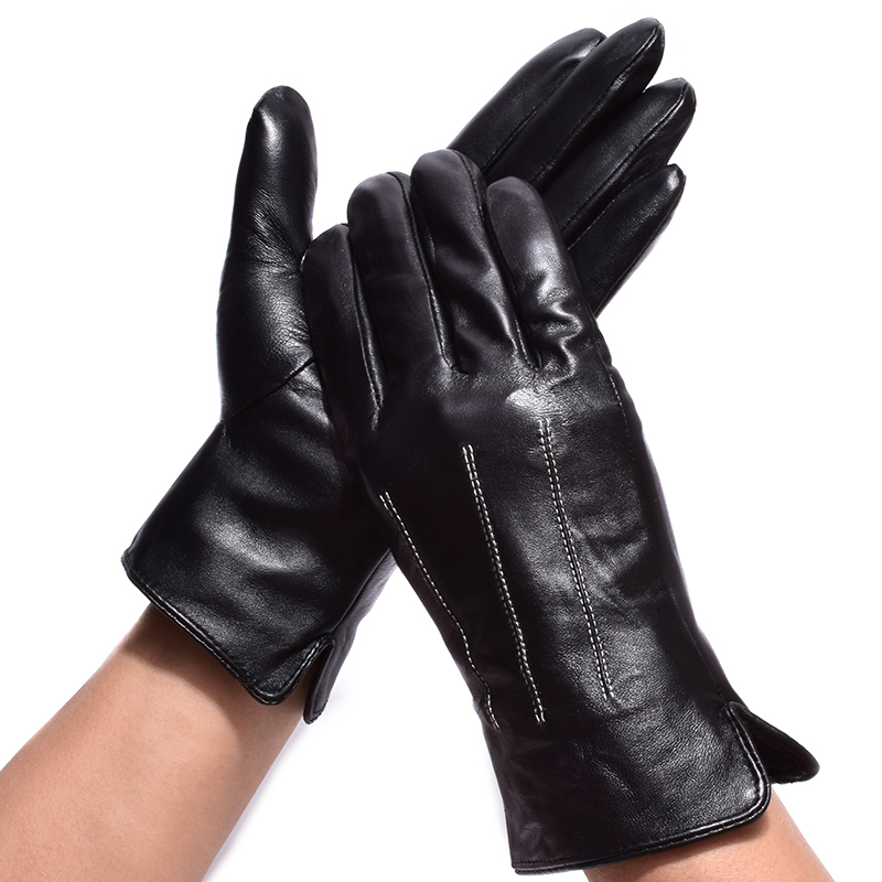 Gentlemen Winter Gloves 2017 Genuine Leather Lined New Cycling Glove Black Thick Outdoor Fitness Real Sheepskin Glove for Men