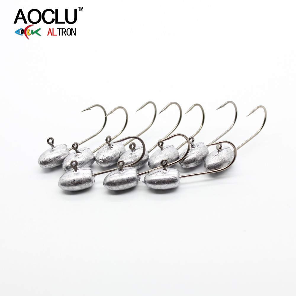 AOCLU Bared No painting jig head 10pcs/lot from 2.5g around for soft lure jigging sharp fishing hooks