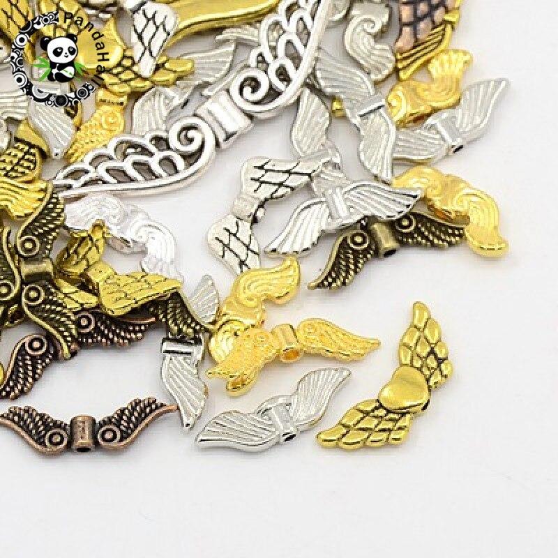 500 г Смешанные тибетский Стиль Крылья Ангела Spacer DIY ювелирные украшения кулон 12 ~ 43.5×3.5 ~ 17×3 ~ 4,5 мм отверстие: 1-2 мм