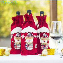 Cartoon Christmas Red Wine Cover Burlap Bottle Decoration Festival Party Supplies