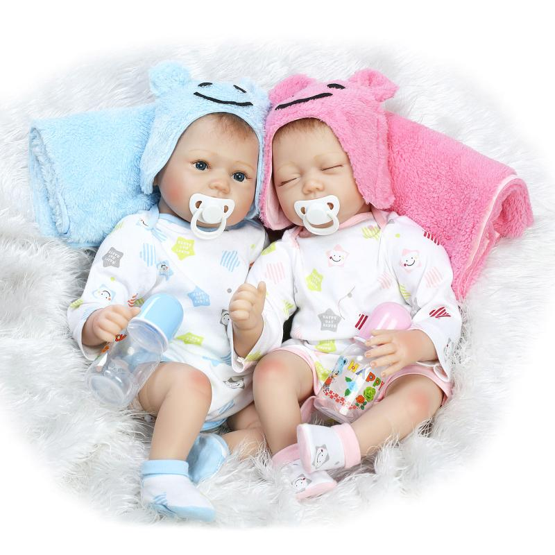 2PCS 22inch Baby Dolls 55cm Soft Silicone Reborn Baby Doll Girl And Boy Newborn Babies Lifelike Bonecas Bebes For Christmas Gift 22inch silicone reborn baby doll 55cm handmade lifelike baby girl doll soft vinyl reborn newborn dolls with clothes bonecas