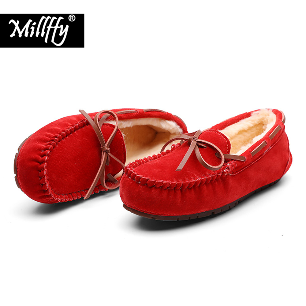 Millffy new 2018 Comfort Sharp Flats handwork double-faced pile peas moccasin gommino winter lady shoes with real fur Loafers fiio x7