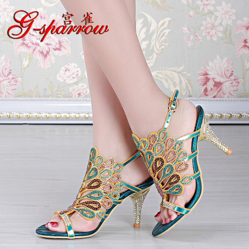 2018 Summer Style New Leather Wedding Shoes Open-toed High Heeled Stiletto Sandals Size 11 Women Diamond Black Red Blue Gold 2016 summer new korean high heeled open toed waterproof thick with muffin platform sandals rome female shoes 14cm