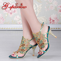 2018 Summer Style New Leather Wedding Shoes Open toed High Heeled Stiletto Sandals Size 11 Women Diamond Black Red Blue Gold