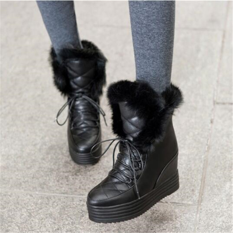 Véritable lapin cheveux frenule tête ronde blanc neige bottes Muffin fond épais interne augmentation loisirs temps femmes bottes 34-43