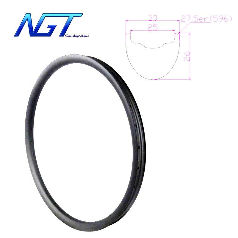 Roues de VTT en carbone 650B jantes de vélo vtt 27.5 ''pièces de vélo de frein à disque de taille 27.5 er profil de pneu Tubeless NGT nouvelles étapes de gars