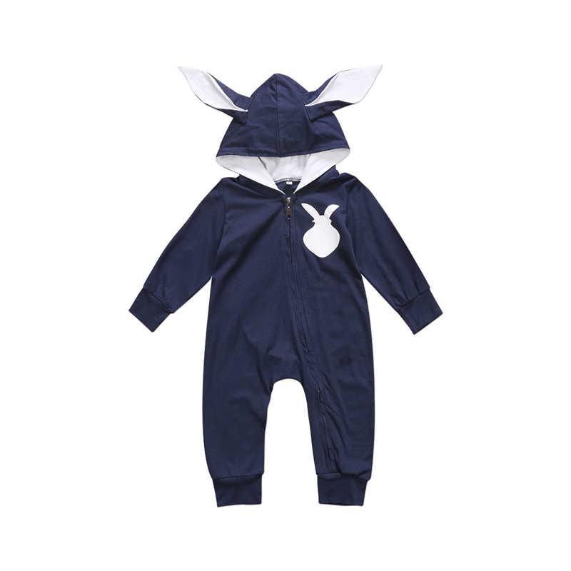 2017 Одежда для новорожденных девочек и мальчиков милые 3D заячьими ушками комбинезон комбинезон, костюм осень-зима теплые Bebes Комбинезоны для малышек Одна деталь