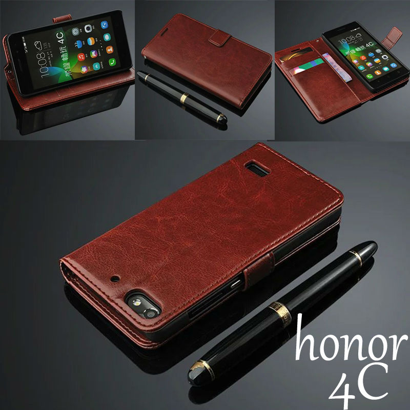 For huawei honor 4C case cover basiness Luxury flip leather case for huawei honor 4c 4 C Crazy horse wallet Phone Bags Cases