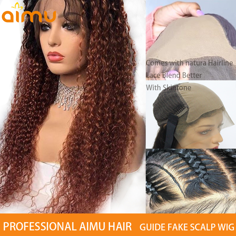 Fake Scalp & HD Customize Curly Ombre T4 30 Color Invisible Undetectable 13*6 Lace Front Real Human Hair Dyed Wig Remy Brazilian