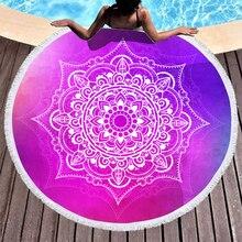 Boho Beach Towels Printed Red Mandala Towel Microfiber Round Fabric Bath For Living Room Home Decorative