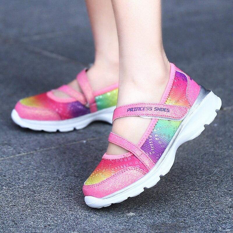 850a453d PINSEN/2019 летняя спортивная детская обувь для девочек; кроссовки; дышащие детские  туфли принцессы