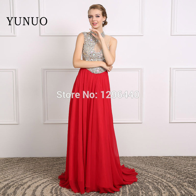71b395a258 Luxury Evening Dress Crystal High Neck Sleeveless Long Formal Evening Gowns  Red Chiffon A Line Prom Dresses robe de soiree Real