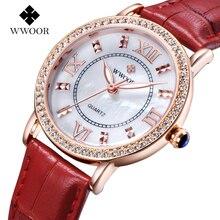 Top Marca de Lujo de Las Señoras de Cuarzo Deporte Reloj de Pulsera de Oro Rosa Reloj de Las Mujeres de Cuero Genuino Diamantes Relogio Feminino Relojes del Amante