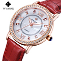 Top Senhoras Marca de Luxo Esporte de Quartzo Rosa Mulheres Relógio de Ouro Relogio feminino relógio de Diamantes de Pulso de Couro Genuíno Relógios do Amante